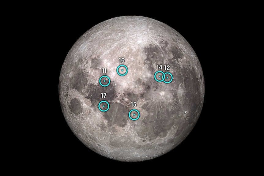 Apollo landing sites as seen from the southern hemisphere.