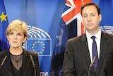 Julie Bishop and Steve Ciobo speak in Brussels.