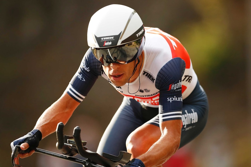Close-up of Richie Porte riding in the timetrial
