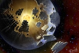 Artist's representation of a crumbling sphere built around a star.