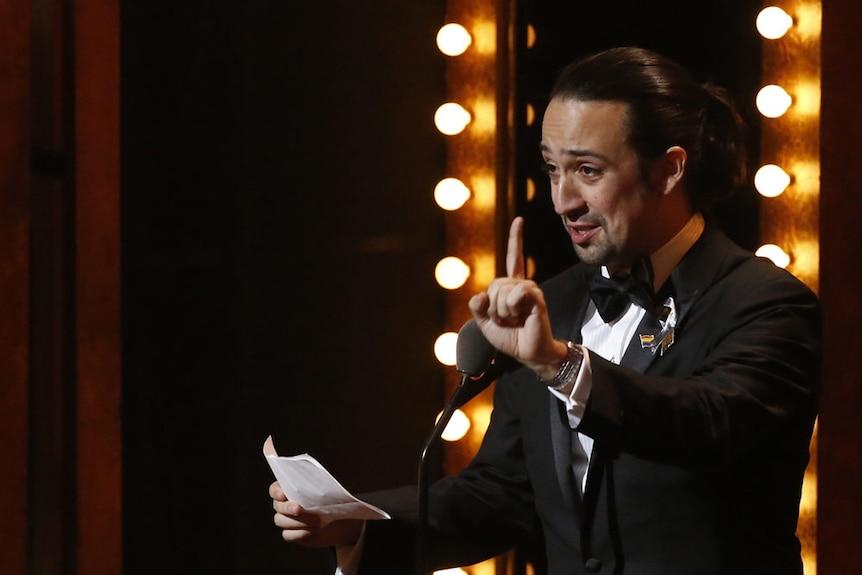 Lin-Manuel Miranda of Hamilton accepts award