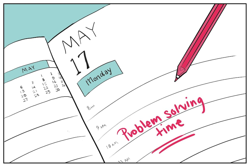 """Illustration shows diary with task """"problem solving time"""""""
