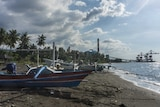 Boats rest on a beach near the The Celukan Bawan power station.