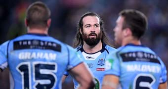 Aaron Woods looks on during NSW' State of Origin Game II loss to Maroons in Sydney
