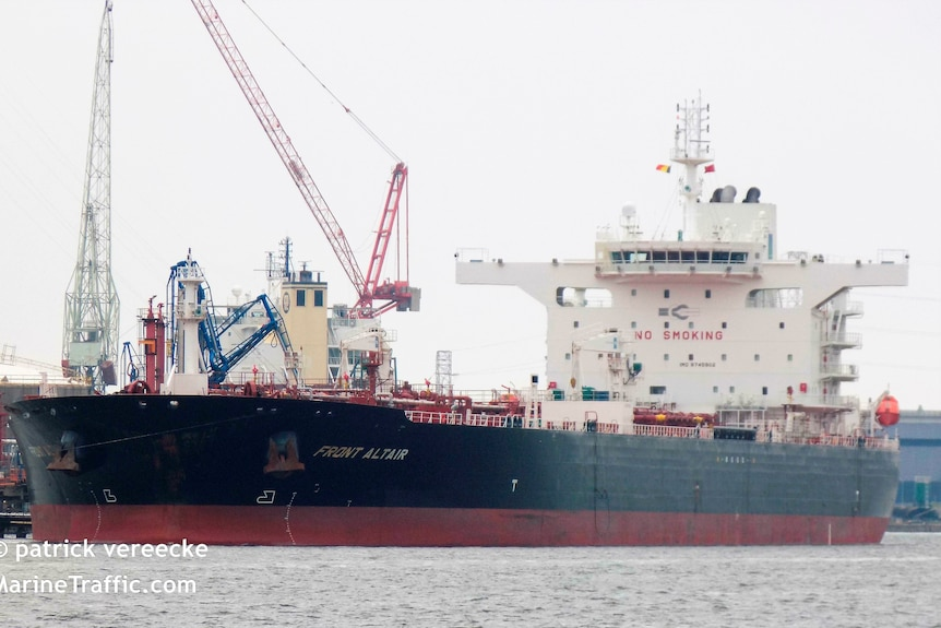 The MT Front Altair, one of two oil tankers reportedly attacked in the Gulf of Oman, pictured in Antwerp, Belgium.