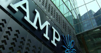 AMP logo on side of building