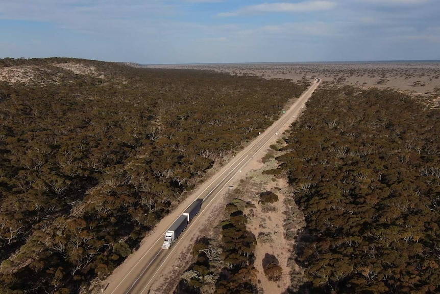 An aerial view of a truck on a highway, driving through arid bushland.