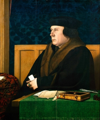 An oil painting of King Henry VIII's right-hand man Thomas Cromwell, he looks off to the side while holding a white paper