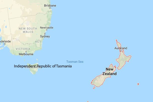 A map with Tasmania's new name if it seceded.