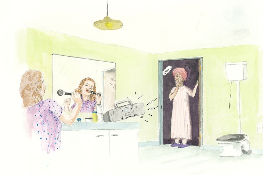 Girl singing to loud music in the bathroom. Mother is hushing her daughter from the doorway in her pjs.