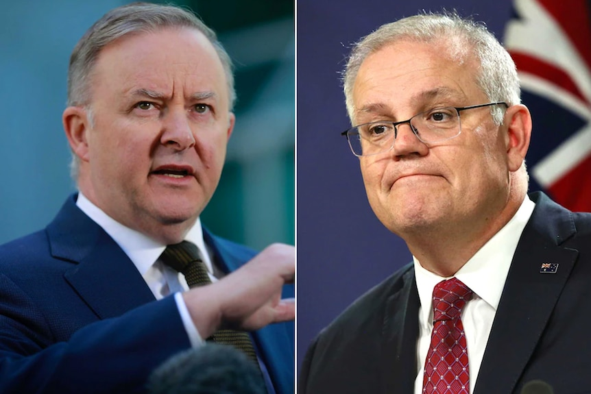 Side by side photos of Anthony Albanese at a microphone and Scott Morrison in front of an Australian flag