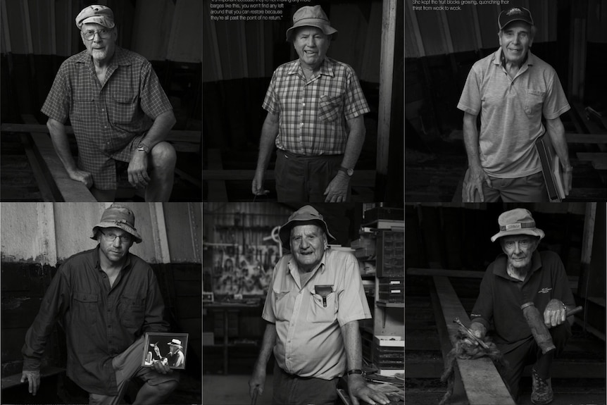 Black and white composite of nine men posing in shed.