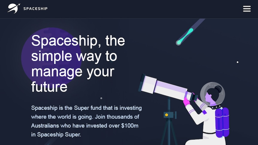 A screenshot of the Spaceship website homepage, featuring a cartoon of a female astronaut