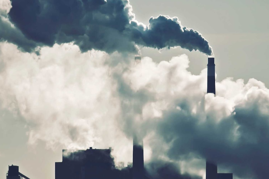 Heat, steam and smoke rising from the chimneys of a power plant.