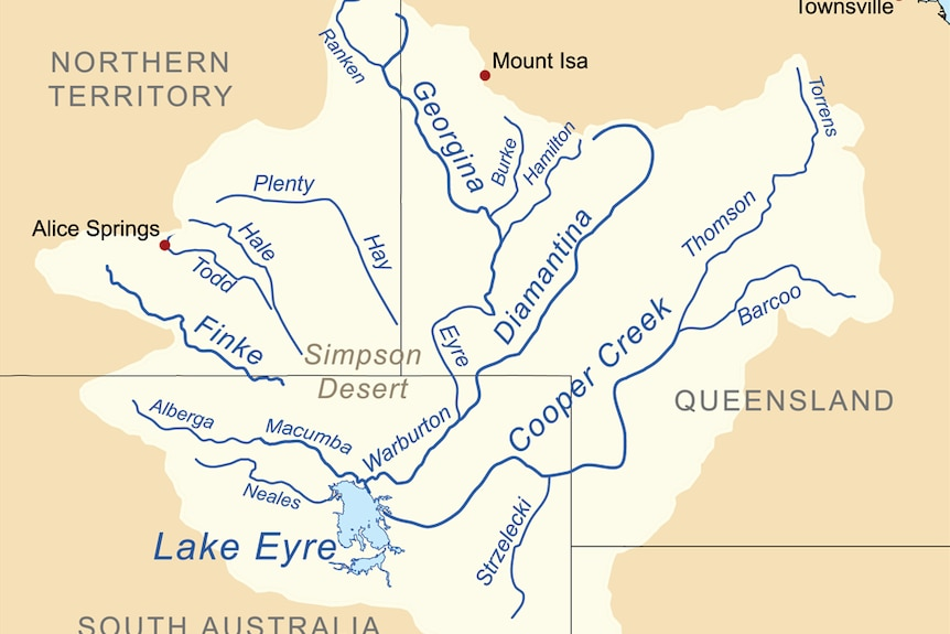 A map showing the Lake Eyre drainage basin, including the major rivers.