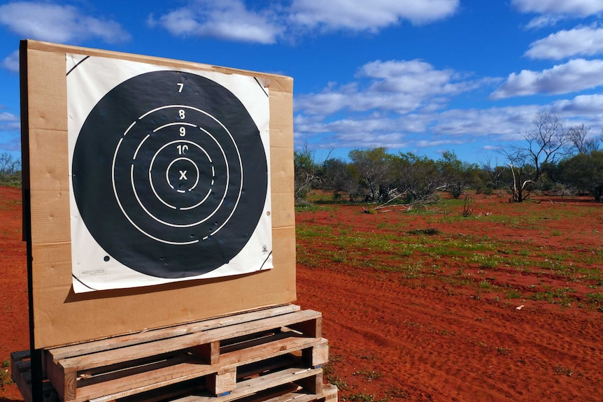 A target with holes in it in outback Australia.