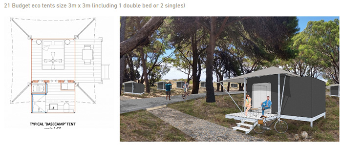 """An artist's impression of the budget """"glamping"""" eco tents, surrounded by trees."""