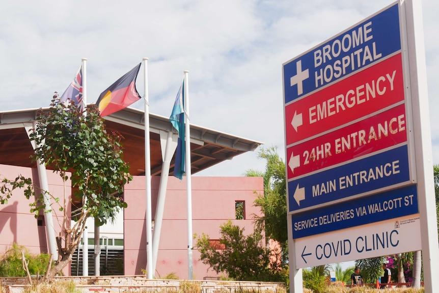 Broome Hospital COVID clinic sign