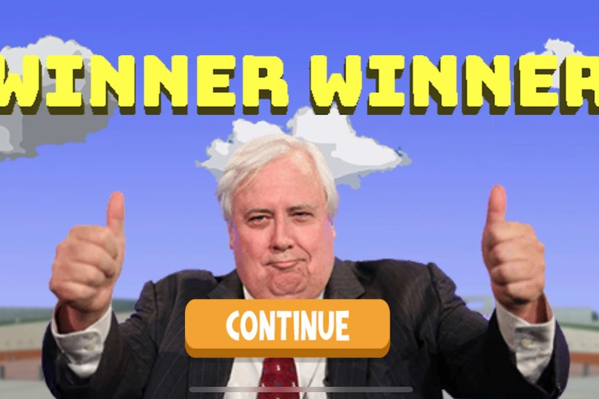 Screenshot of mobile app with Clive Palmer, wearing suit jacket, giving two thumbs up signal with Winner Winner written above