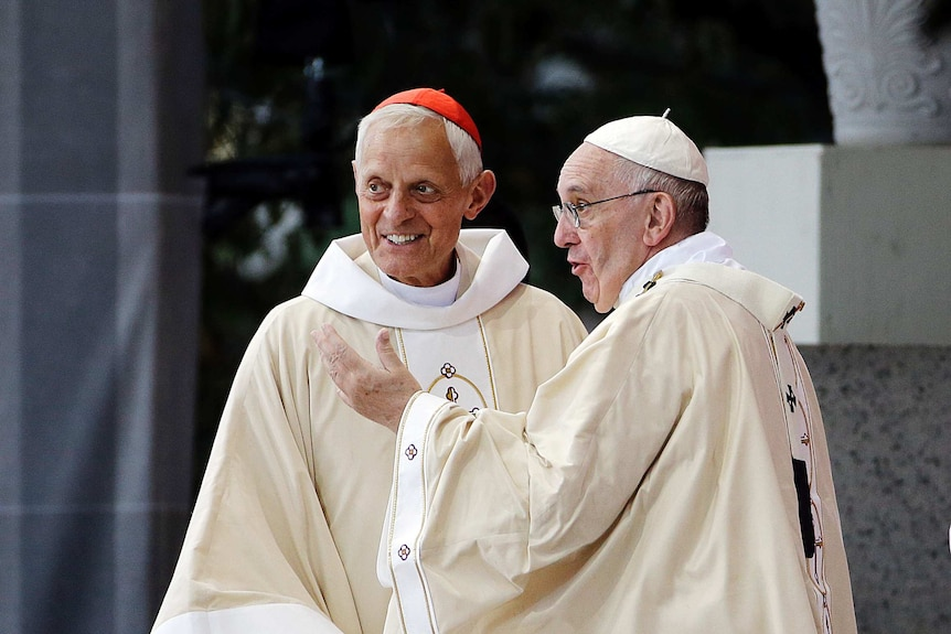 American cardinal Donald Wuerl speaks with Pope Francis