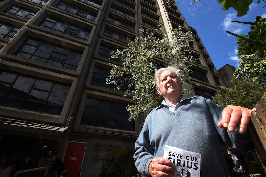 Jack Mundey stands in front of the Sirius building