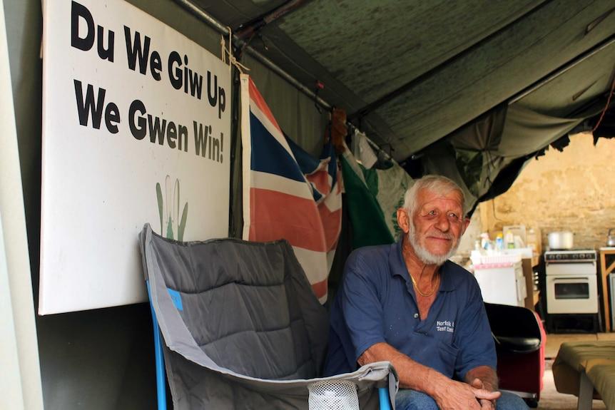 Norfolk Islander Duncan Sanderson pictured inside his tent embassy.