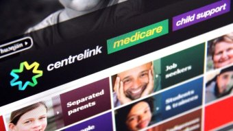 A screenshot shows the Department of Human Services website, with Centrelink, Medicare and Child support logos