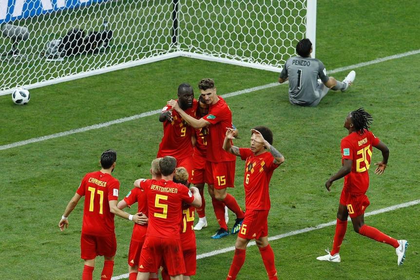 Belgium players celebrate a Romelu Lukaku goal