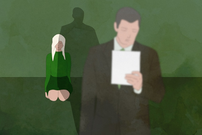 An illustration of a girl kneeling in a green room behind a man holding a piece of paper.