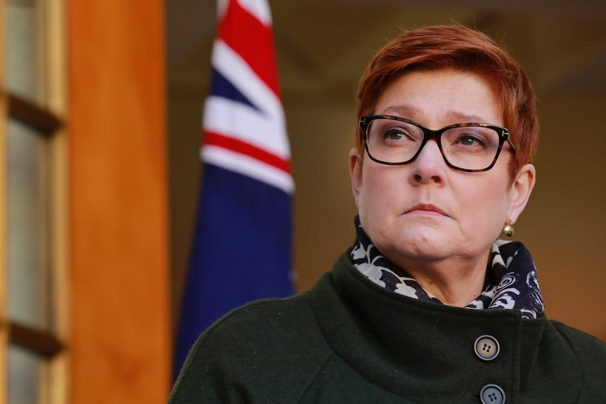 Marise Payne looks into the distance with an Australian flag behind her