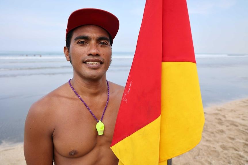Balinese lifeguard Marcello Aryafara.