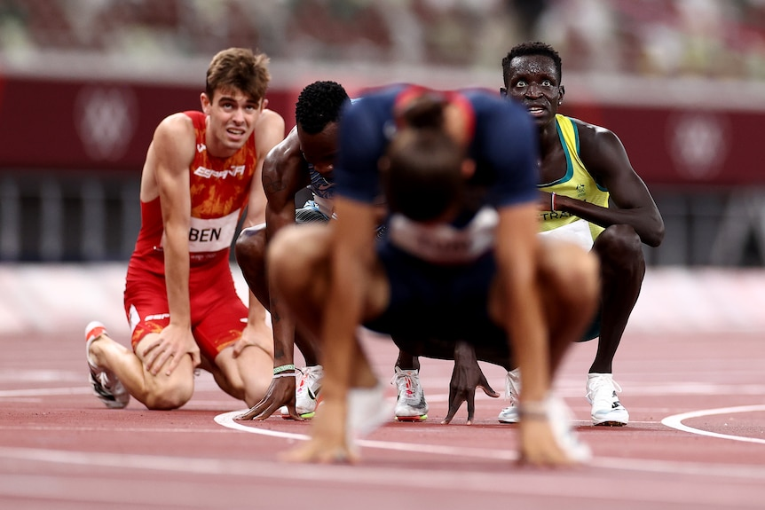Peter Bol after 800m final at the Tokyo Olympics