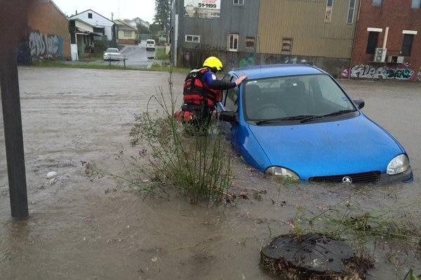 A firefighter looks into a car in waist-deep floodwaters in Wallsend.