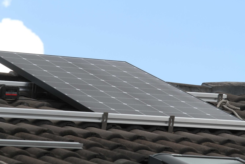 A solar panel on a roof