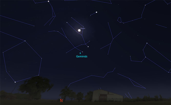 Sky map showing position of Geminids meteor shower