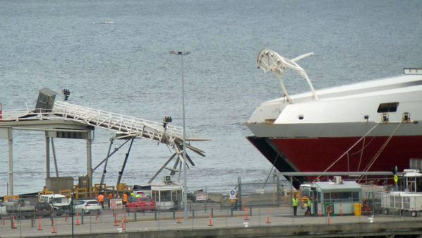 Damage to the gantry at Station Pier