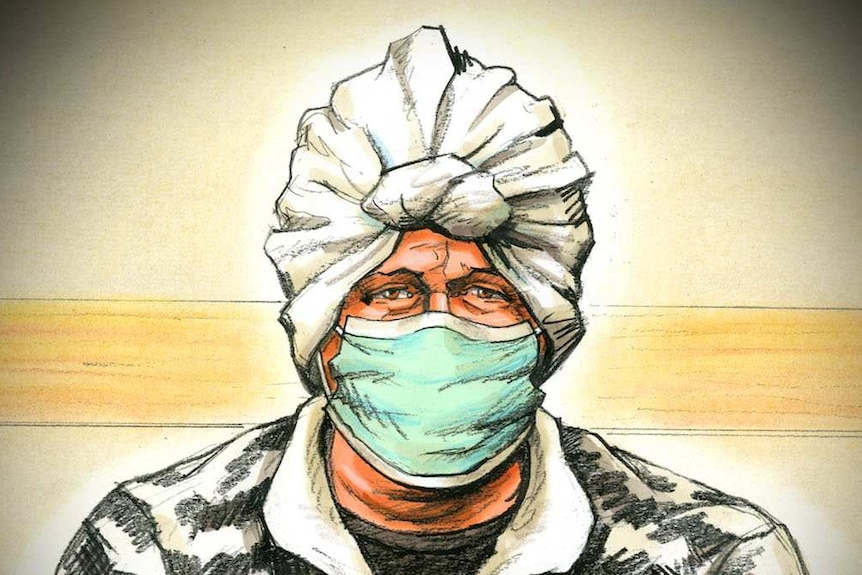 A court sketch of a woman in a white headscarf, wearing a mask and a black and white jacket.