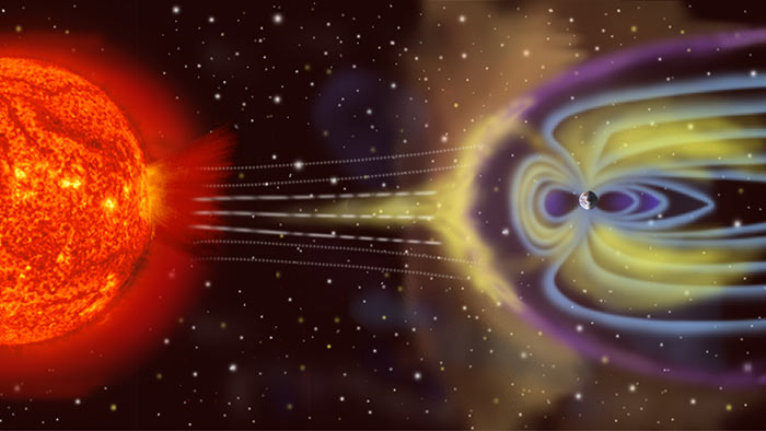 Artist's depiction of solar wind colliding with Earth's magnetosphere