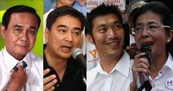 Four of the major candidates at the 2019 Thai election.