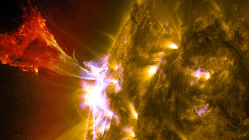A burst of solar material leaps off the Sun in what's known as a prominence eruption.