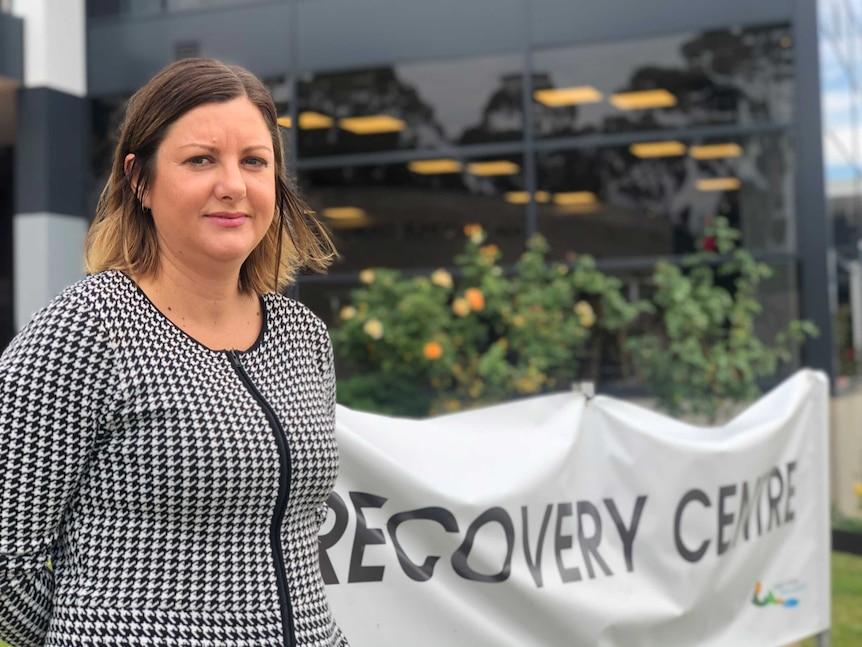 Bega Valley Mayor Kristy McBain stands outside the Bega bushfire recovery centre