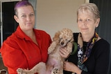 Polly Ashby (left) and Caroline Moore with a 10-year-old poodle.