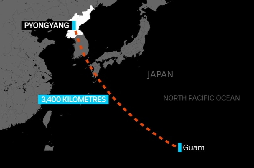 A map shows the distance between Pyongyang and Guam.