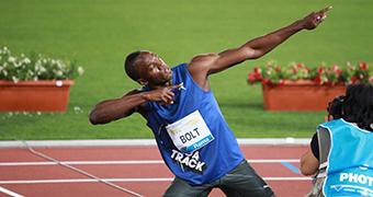 Usain Bolt on the track.