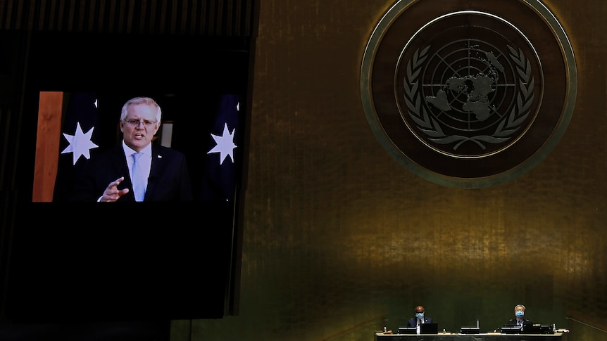 Australia Prime Minister Scott Morrison appears on screen at the UN assembly in a pre-recorded message.