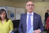 South Australian Premier Jay Weatherill talks to the media