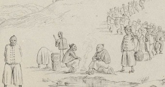 A drawing from 1854 shows Chinese miners walking to the goldfields carrying their bundles of belongings.
