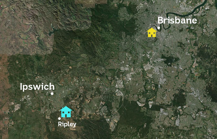 A map showing a family's house near Brisbane and another at Ipswich, south of Brisbane.