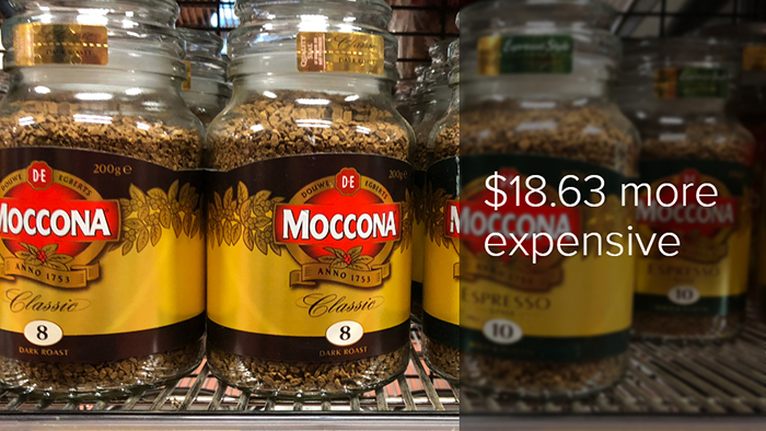 Jar of Moccona instant coffee on the Doomadgee supermarket shelf is $18.63 more expensive than in Brisbane.