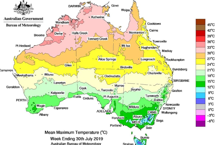 A map of Australian mean maximum temperatures for the last week of July